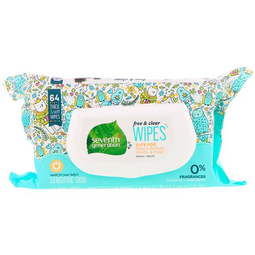 Seventh Generation, Free & Clear Baby Wipes, Unscented, 64 Wipes Review