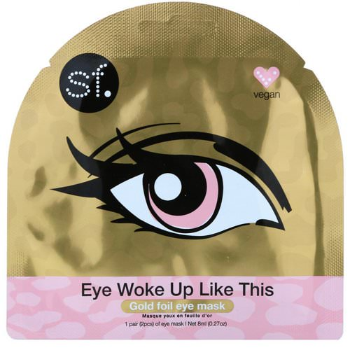 SFGlow, Eye Woke Up Like This, Gold Foil Eye Mask, 1 Mask, 0.27 oz (8 ml) Review