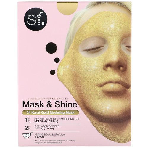 SFGlow, Mask & Shine, 24 Karat Gold Modeling Mask, 4 Piece Kit Review