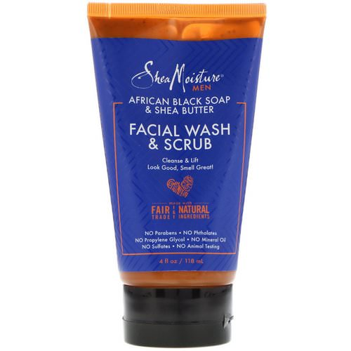 SheaMoisture, Men, African Black Soap & Shea Butter, Facial Wash & Scrub, 4 fl oz (118 ml) Review
