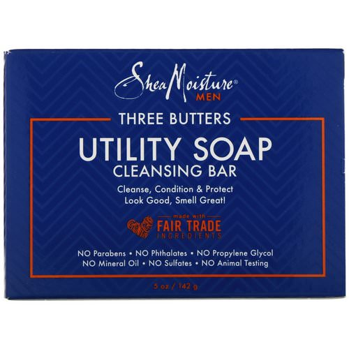 SheaMoisture, Three Butters Utility Soap, Cleansing Bar for Men, 5 oz (142 g) Review