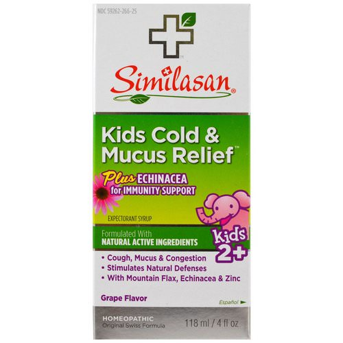 Similasan, Kids Cold & Mucus Relief, with Echinacea, Grape, 4 fl oz (118 ml) Review