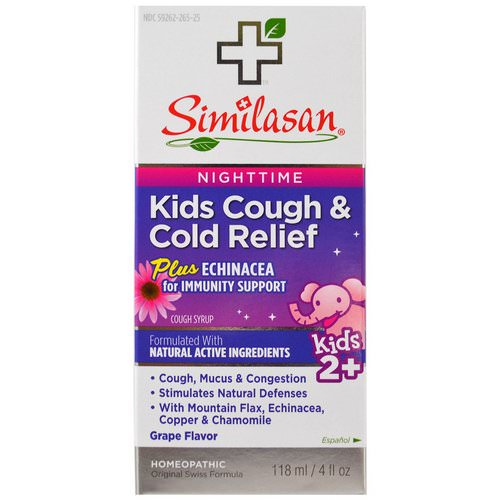 Similasan, Kids Cough & Cold Relief, Nighttime, Grape, 4 fl oz (118 ml) Review
