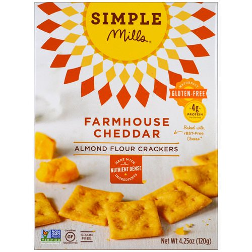 Simple Mills, Naturally Gluten-Free, Almond Flour Crackers, Farmhouse Cheddar, 4.25 oz (120 g) Review