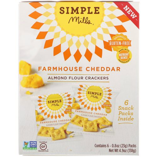 Simple Mills, Naturally Gluten-Free, Almond Flour Crackers, Farmhouse Cheddar, 6 Packs, 0.8 oz (23 g) Each Review
