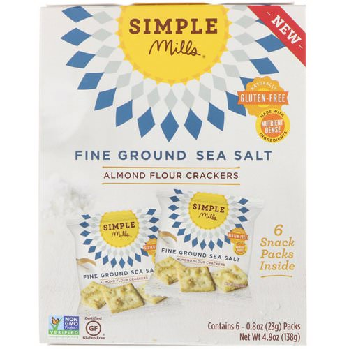 Simple Mills, Naturally Gluten-Free, Almond Flour Crackers, Fine Ground Sea Salt, 6 Packs, 0.8 oz (23 g) Each Review