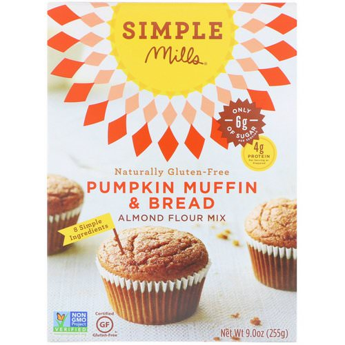 Simple Mills, Naturally Gluten-Free, Almond Flour Mix, Pumpkin Muffin & Bread, 9.0 oz (255 g) Review