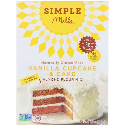 Simple Mills, Naturally Gluten-Free, Almond Flour Mix, Vanilla Cupcake & Cake, 11.5 oz (327 g) Review