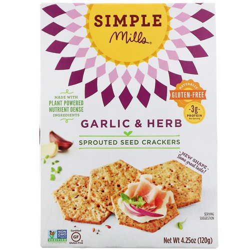Simple Mills, Sprouted Seed Crackers, Garlic & Herb, 4.25 oz (120 g) Review