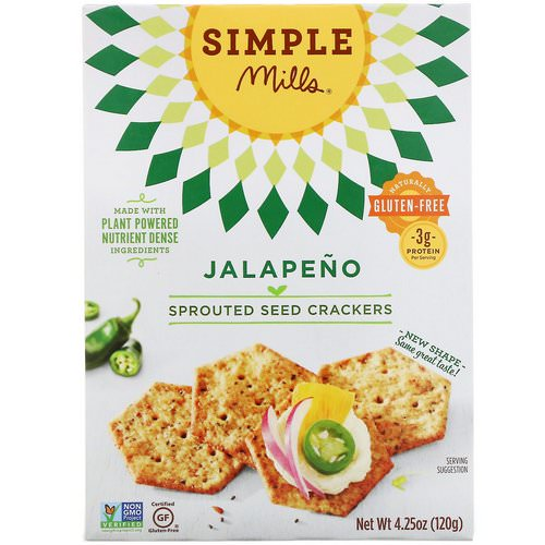 Simple Mills, Sprouted Seed Crackers, Jalapeno, 4.25 oz (120 g) Review