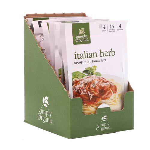 Simply Organic, Italian Herb Spaghetti Sauce Mix, 12 Packets, 1.31 oz (37 g) Each Review