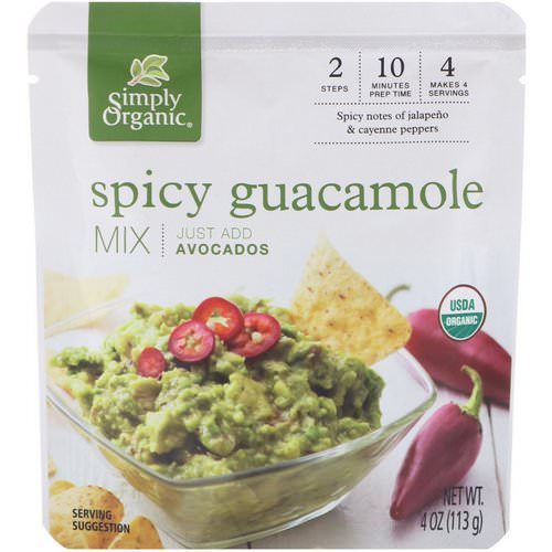 Simply Organic, Organic Spicy Guacamole Mix, 4 oz (113 g) Review