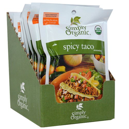 Simply Organic, Spicy Taco Seasoning, 12 Packets, 1.13 oz (32 g) Each Review