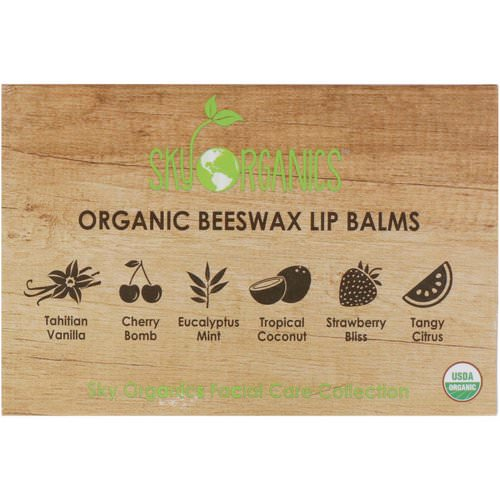 Sky Organics, Organic Beeswax Lip Balms Set, 6 Pack, .15 oz (4.25 g) Each Review