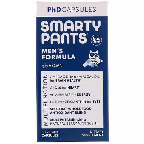 SmartyPants, PhD Capsules, Men's Formula, 60 Vegan Capsules Review