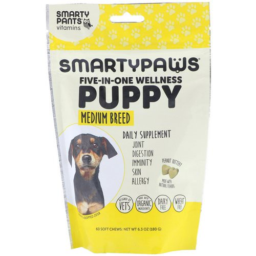 SmartyPants, SmartyPaws, Five-In-One Wellness, Puppy, Medium Breed, 60 Soft Chews Review