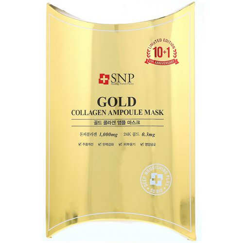 SNP, Gold Collagen Ampoule Mask, 10 Sheets, 0.84 fl oz (25 ml) Each Review