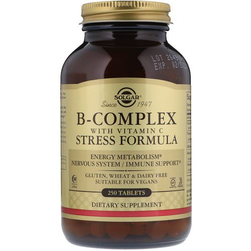 Solgar, B-Complex with Vitamin C Stress Formula, 250 Tablets Review