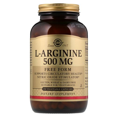 Solgar, L-Arginine, 500 mg, 250 Vegetable Capsules Review