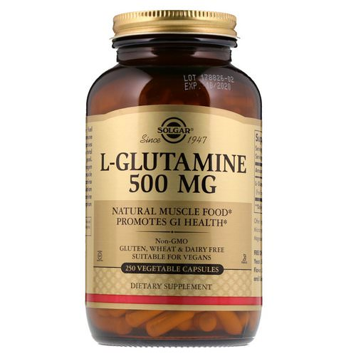 Solgar, L-Glutamine, 500 mg, 250 Vegetable Capsules Review
