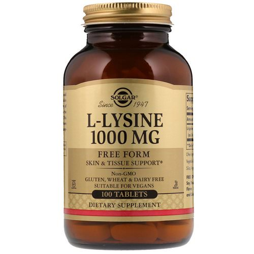 Solgar, L-Lysine, Free Form, 1,000 mg, 100 Tablets Review
