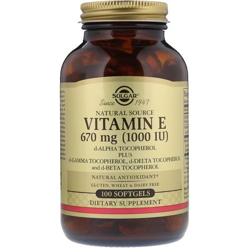 Solgar, Naturally Sourced Vitamin E, 1,000 IU, 100 Softgels Review