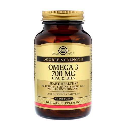 Solgar, Omega-3, EPA & DHA, Double Strength, 700 mg, 60 Softgels Review