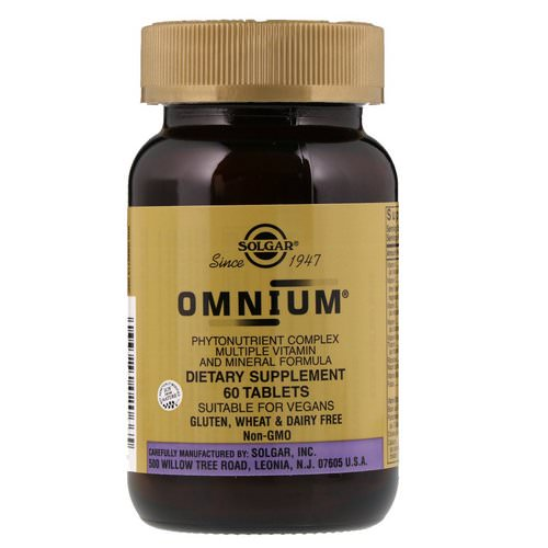 Solgar, Omnium, Phytonutrient Complex, Multiple Vitamin and Mineral Formula, 60 Tablets Review