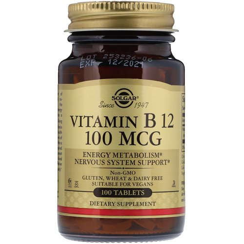 Solgar, Vitamin B12, 100 mcg, 100 Tablets Review
