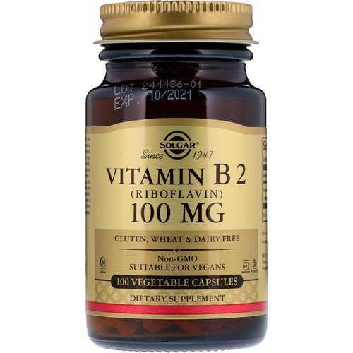 Solgar, Vitamin B2 (Riboflavin), 100 mg, 100 Vegetable Capsules Review