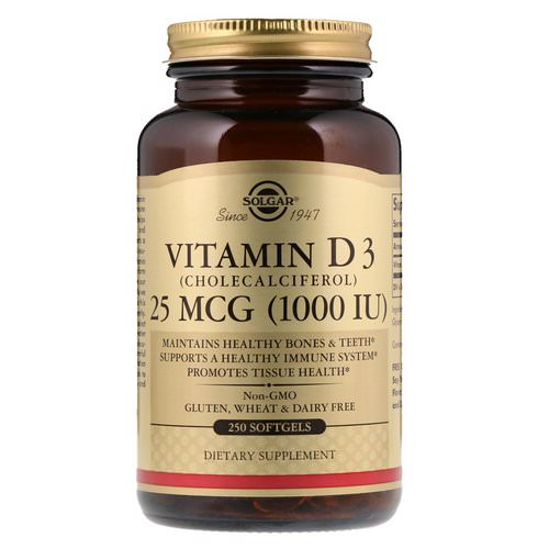 Solgar, Vitamin D3 (Cholecalciferol), 1000 IU, 250 Softgels Review