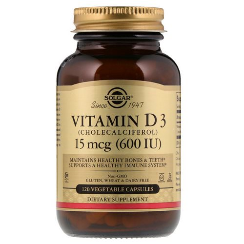 Solgar, Vitamin D3 (Cholecalciferol), 15 mcg (600 IU), 120 Vegetable Capsules Review