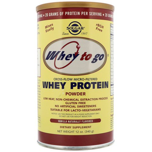 Solgar, Whey To Go, Whey Protein Powder, Vanilla, 12 oz (340 g) Review