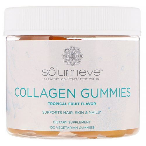 Solumeve, Collagen Gummies, Gelatin Free, Tropical Fruit Flavor, 100 Vegetarian Gummies Review