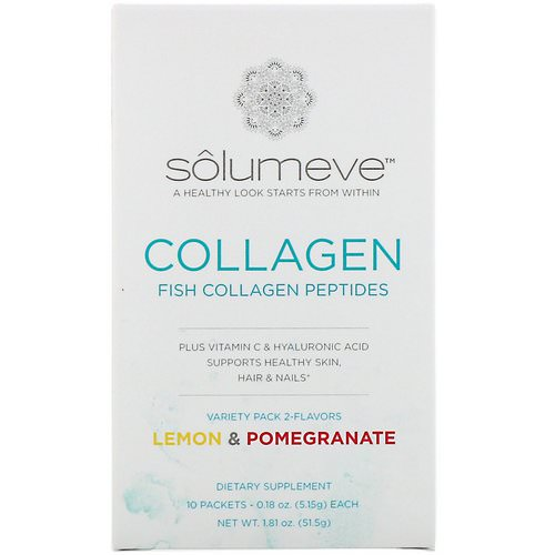 Solumeve, Collagen Peptides Plus Vitamin C & Hyaluronic Acid, Variety Pack, Lemon and Pomegranate, 10 Packets, 0.18 oz (5.15 g) Each Review
