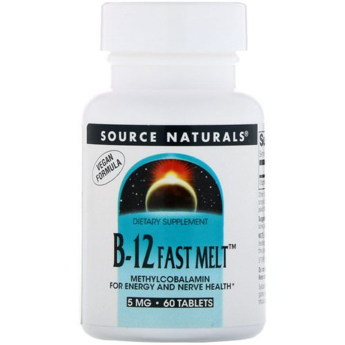Source Naturals, B-12 Fast Melt, 5 mg, 60 Tablets Review