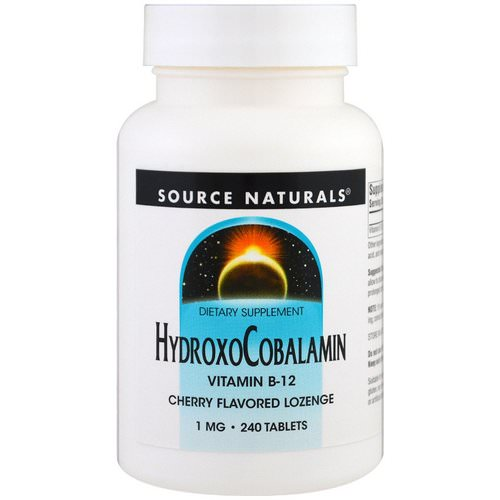Source Naturals, HydroxoCobalamin, Vitamin B-12, Cherry Flavored Lozenge, 1 mg, 240 Tablets Review