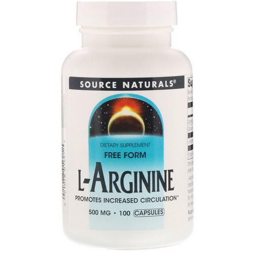 Source Naturals, L-Arginine, Free Form, 500 mg, 100 Capsules Review