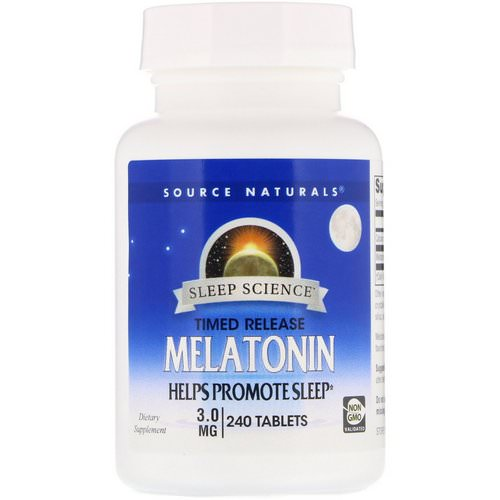 Source Naturals, Melatonin, Timed Release, 3 mg, 240 Tablets Review