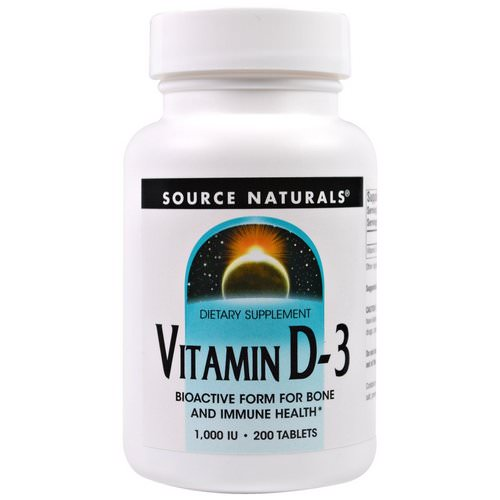 Source Naturals, Vitamin D-3, 1,000 IU, 200 Tablets Review