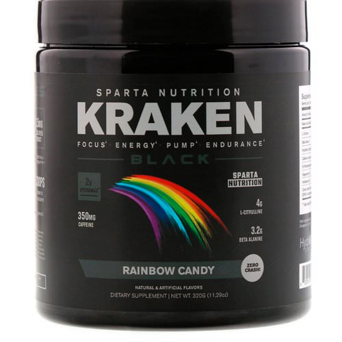 Sparta Nutrition, Kraken Black, Rainbow Candy, 11.29 oz (320 g) Review