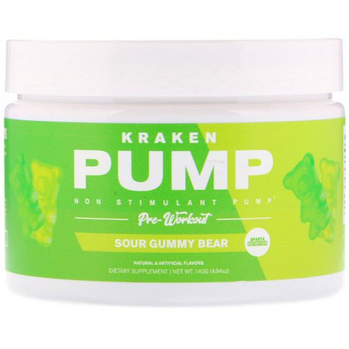 Sparta Nutrition, Kraken Pump, Non-Stimulant Pre-Workout, Sour Gummy Bear, 4.94 oz (140 g) Review