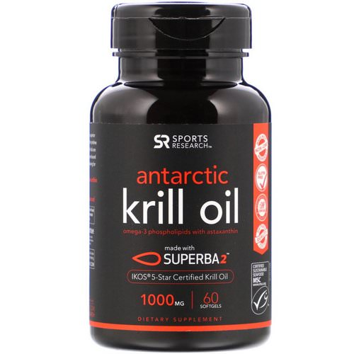 Sports Research, Antarctic Krill Oil with Astaxanthin, 1,000 mg, 60 Softgels Review