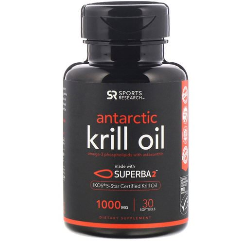 Sports Research, Antarctic Krill Oil with Astaxanthin, 1000 mg, 30 Softgels Review