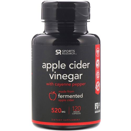 Sports Research, Apple Cider Vinegar with Cayenne Pepper, 520 mg, 120 Veggie Capsules Review