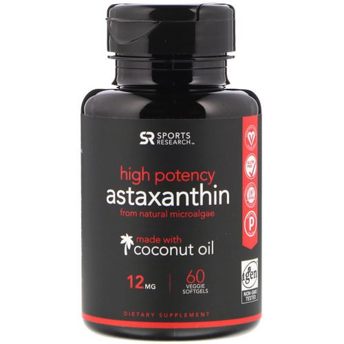 Sports Research, Astaxanthin Made With Coconut Oil, High Potency, 12 mg, 60 Veggie Softgels Review