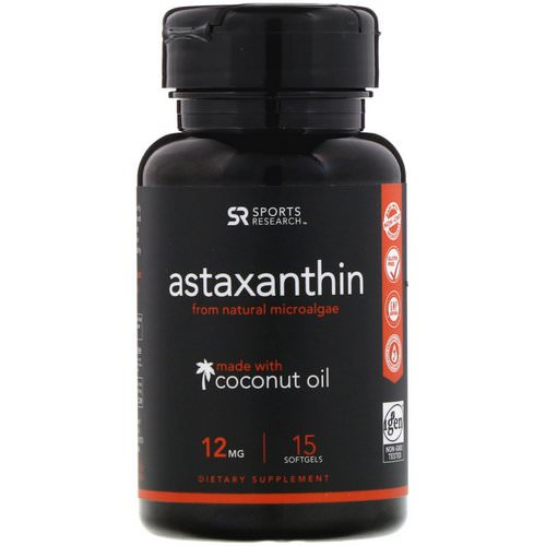 Sports Research, Astaxanthin with Coconut Oil, 12 mg, 15 Softgels Review