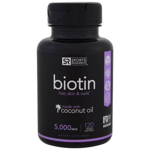 Sports Research, Biotin with Coconut Oil, 5,000 mcg, 120 Veggie Softgels Review