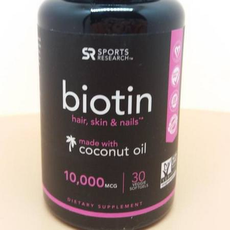 Sports Research, Biotin with Coconut Oil, 10,000 mcg, 120 Veggie Softgels Review