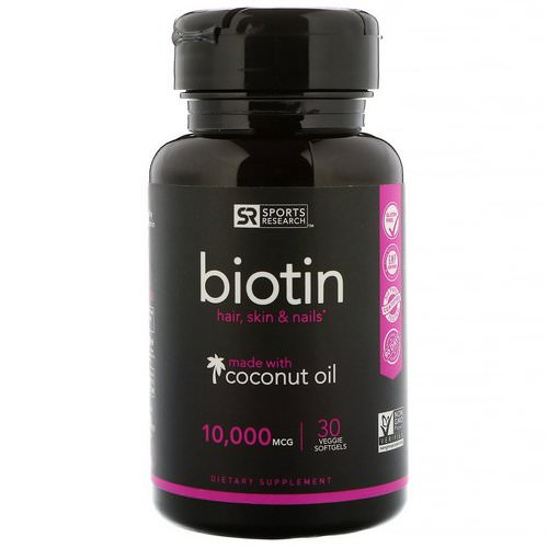 Sports Research, Biotin with Coconut Oil, 10,000 mcg, 30 Veggie Softgels Review